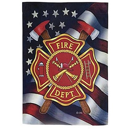 Custom decor inc patriotic firefighter house flag for Custom decor inc