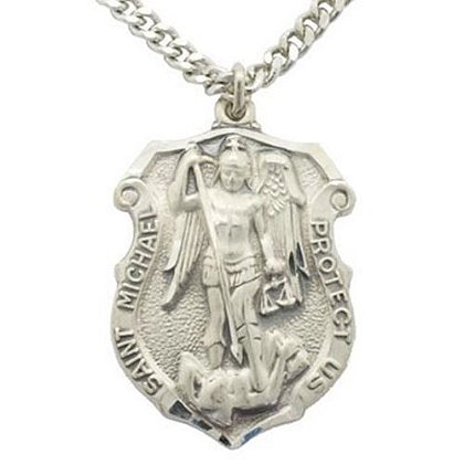 Large St. Michael Silver Necklace