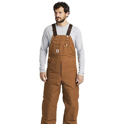 Carhartt Duck Quilt-Lined Zip-To-Thigh Bib Overalls