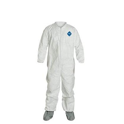 DUPONT™ TYVEK® COVERALL with Collar and Attached Skid-Resistant Boots, 25 per case