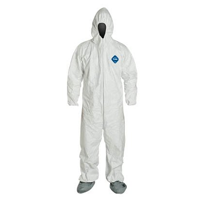 DUPONT™ TYVEK® COVERALL. Comfort Fit Design with Respirator Fit Hood, and Attached Skid-Resistant Boots, 25 per case