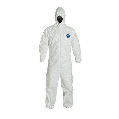DUPONT™  TYVEK® COVERALL, Comfort Fit Design. Respirator Fit Hood. Elastic Wrists and Ankles. Elastic Waist. 25 per case