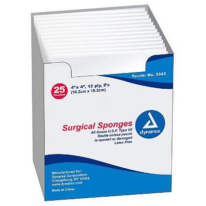Dynarex Gauze Sponge Sterile 2's 4x4 12 Ply
