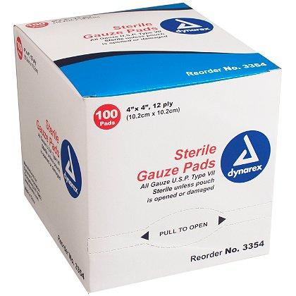 Dynarex 4x4 Gauze Pad, Sterile, 12 Ply