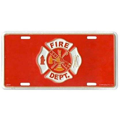 Fire Dept. Maltese Cross on Red License Plate