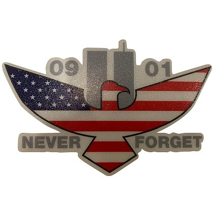Exclusive 9-11 Memorial Eagle US Flag Reflective Decal