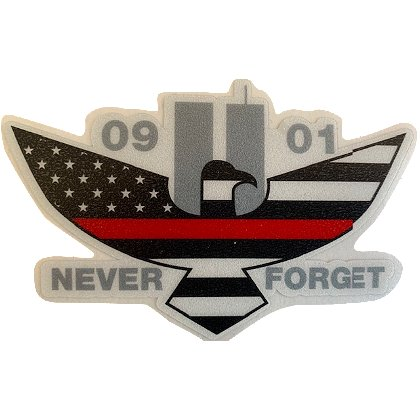 Exclusive 9-11 Memorial Eagle Thin Red Line US Flag Reflective Decal