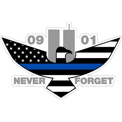Exclusive 9-11 Memorial Eagle Thin Blue Line US Flag Reflective Decal