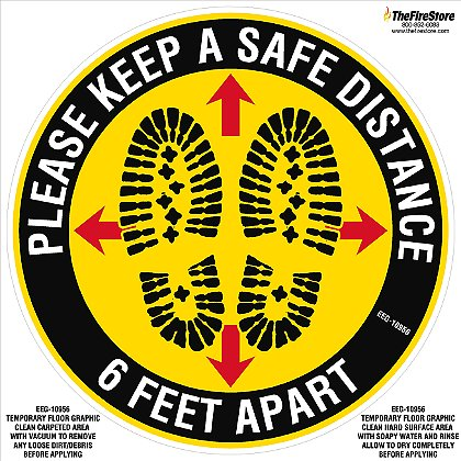 Exclusive Keep A Safe Distance Floor Decal