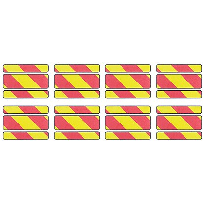 Exclusive Reflective Chevron Slash with a Black Border Full Perimeter Trim, Pkg of 8