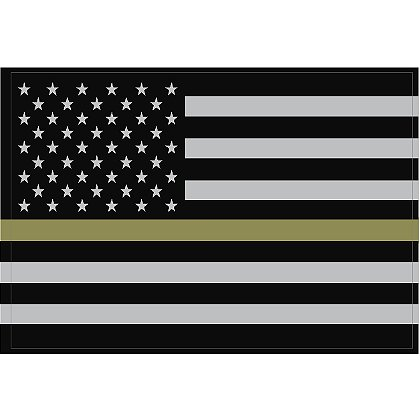 Exclusive Reflective Subdued Thin Olive Drab Line U.S. Flag Decal