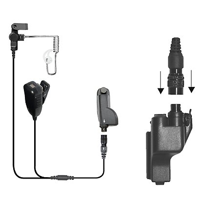 Earphone Connection Cougar 2-Wire Microphone with PTT Button and Quick-Release Adapter for Motorola