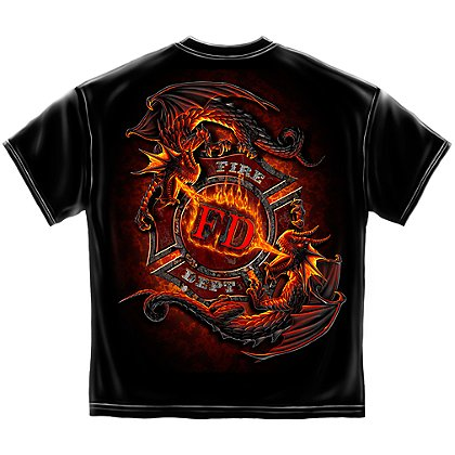 Ying Yang Fire Dept. Maltese Cross Dragons T-Shirt