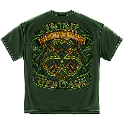 Irish Firefighter Heritage Maltese Cross Clover T-Shirt