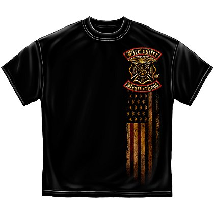 Erazor Bits Firefighter Double Flagged Brotherhood T-Shirt