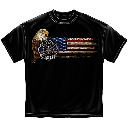 Erazor Bits Firefighter Eagle and Flag T-Shirt