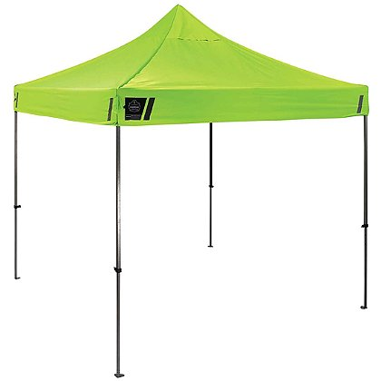 Ergodyne Shax 10' x 10' Heavy Duty Commercial Pop-Up Tent, Hi-Vis Lime
