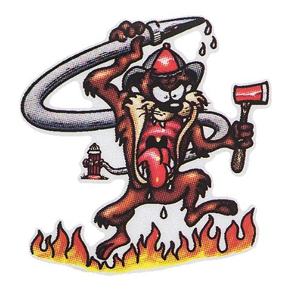 Firehouse Decals Tasmanian Devil with Fire Decal