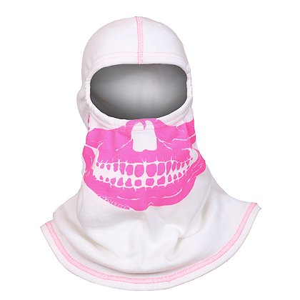 Majestic F20 Fire Ink WHITE Skull Hood with High Visibility Pink Ink and Threading