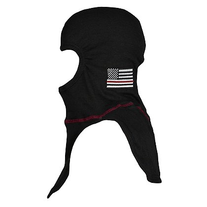 Majestic PACII Ultra C6 Embroidered Thin Red Line Flag Hood, Black