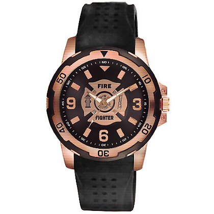 Aquaforce 54Y, Rose Gold & Black Firefighter Dress Watch