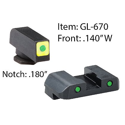 AmeriGlo CAP LE Three-Dot Green Tritium Night Sights For Glock