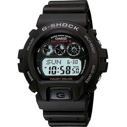 Casio G-Shock Digital Watch Atomic/Solar Powered, Black/White Accents