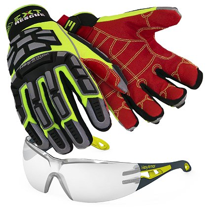 684a54a3598c8 HexArmor EXT Rescue Kit, 4011 Extrication Gloves & MX200 Clear Lens Safety  Eyewear