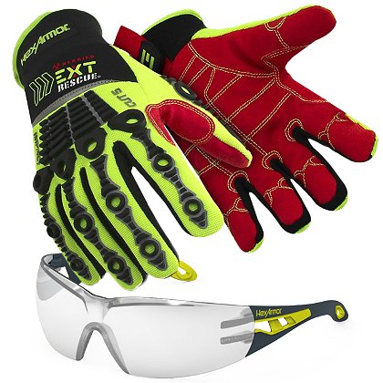 cd8f2617436d0 Hex Armor EXT Rescue Kit with 4014 Extrication Gloves & MX200 Clear Lens  Safety Eyewear