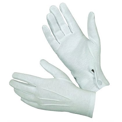 Hatch White Cotton Parade Gloves with Snap Cuff