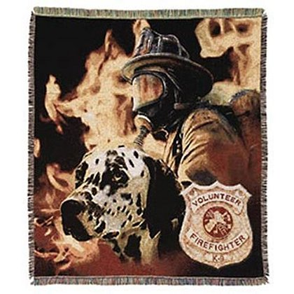 Volunteer Firefighter Dalmatian Afghan Throw