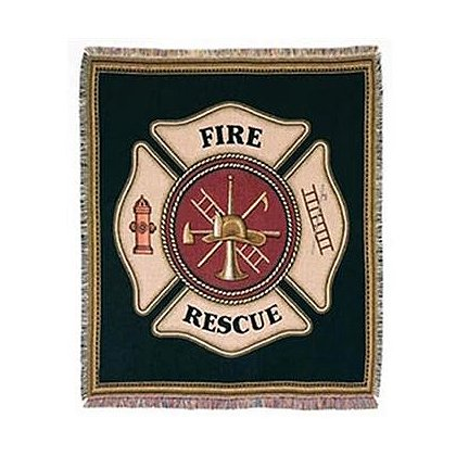 Firefighter Fire Rescue Maltese Cross Shield Tapestry Throw