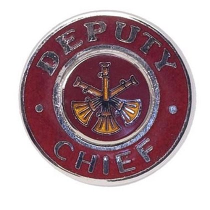 Red-Enameled, Silver-Finished Deputy Chief Collar Insignia Pin with 3 Bugles