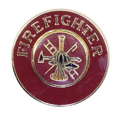 Red-Enameled, Gold-Finished Firefighter Collar Insignia Pin