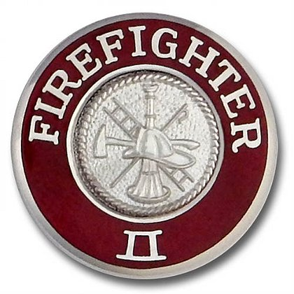 Silver Firefighter II Collar Insignia Pin