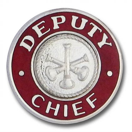 Silver Deputy Chief Collar Insignia Pin with 3 Bugles