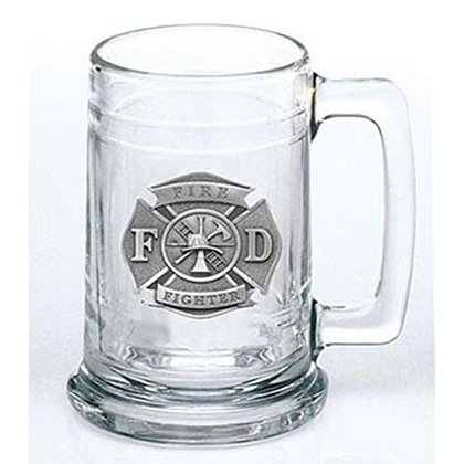Pewter Firefighter Maltese Cross Glass Stein