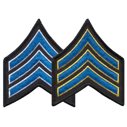 Sergeant Chevron, 1 pair with Merrowed Edges on Black Border