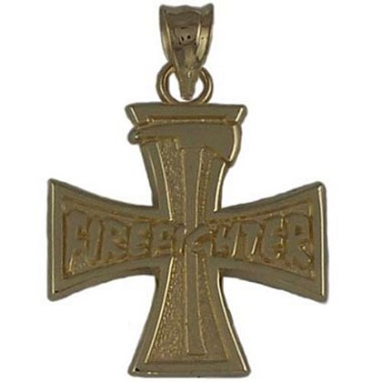 Firefighter and Ax Cross Charm