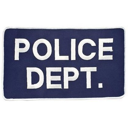 Large 5x9 Embroidered Police Dept. Patch