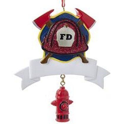 Fireman Helmet with Banner and Hydrant Ornament