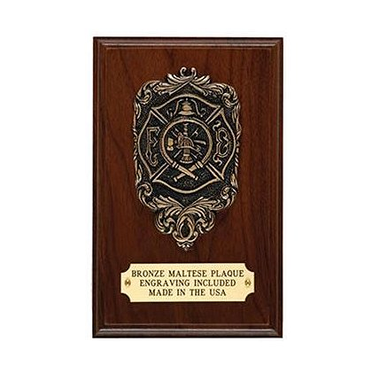 Personalized Maltese Cross Bronze & Walnut Plaque