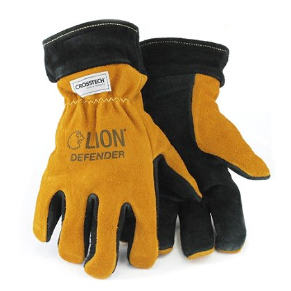 Lion Black-Gold Defender Leather Structural Firefighting Glove, NFPA