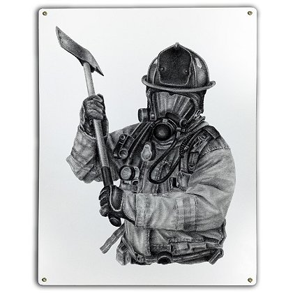 Laser Reproductions Black and White Firefighter with Axe