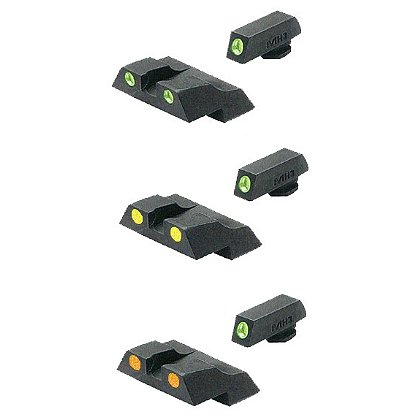 Meprolight Glock TRU-DOT Low Profile Fixed Night Sight Sets for G26 & G27 Subcompacts--Green, Orange, or Yellow Rear