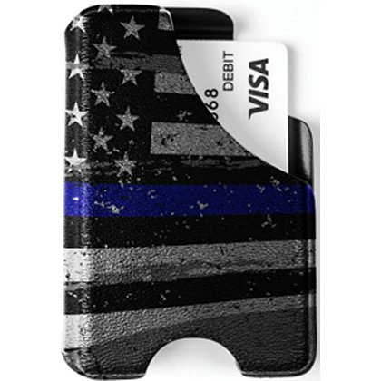 Mission First Tactical Distressed Thin Blue Line Flag Minimalist Wallet