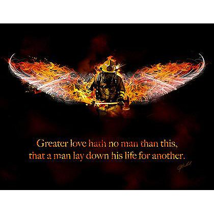 No Greater Love Firefighter Art
