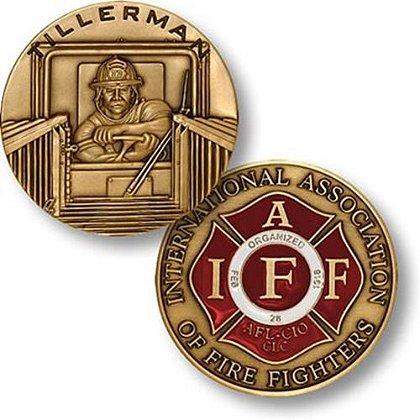 IAFF Firefighter Tillerman Challenge Coin