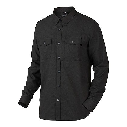 Oakley Adobe Woven Long Sleeve Shirt, Jet Black Heather