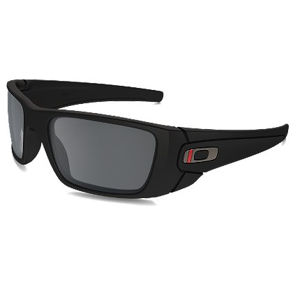 Oakley SI Fuel Cell Thin Red Line Satin Black Frames with Black Iridium Lenses